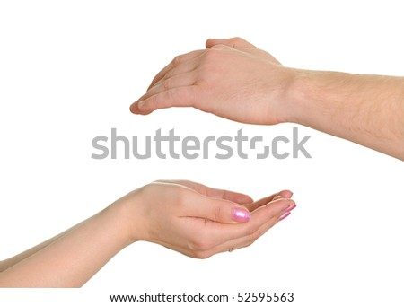 Man's and female hand isolated on white background