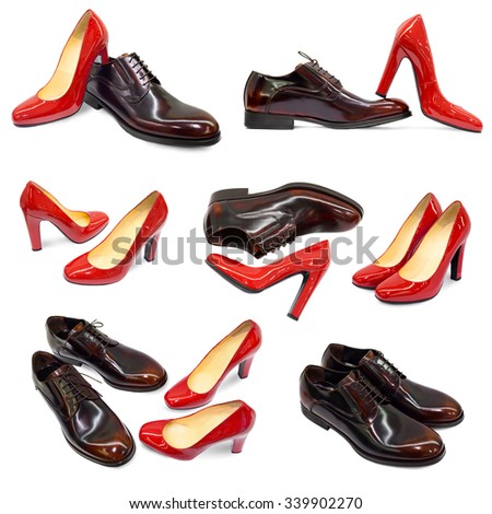 Man's and woman's footwear collection on white background - stock photo