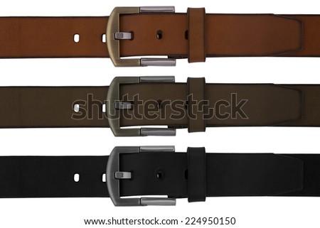 Man's belts set on white background - stock photo