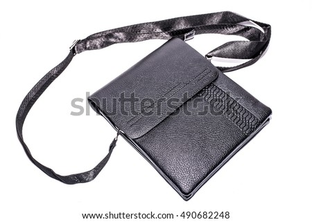 Man's black leather bag isolated on the white background