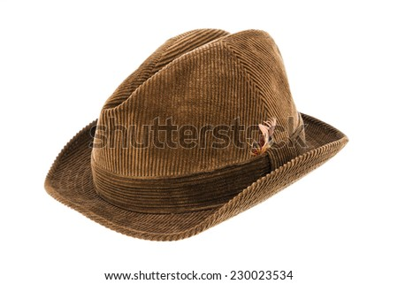 Man's brown Trilby hat isolated on a white background