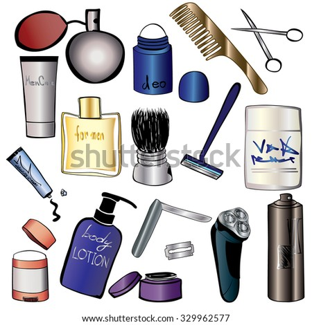 Man`s Cosmetics And Beauty Products Icon Set. Hand Drawn