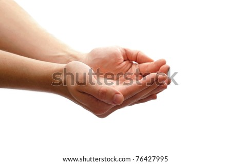 Man's cupped hands isolated on white - stock photo