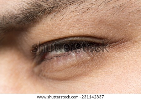 man's eyes close-up