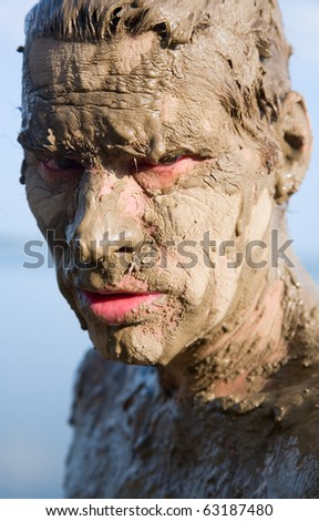 Naked Man Covered Mud Stock Photo (Edit Now) 40458979