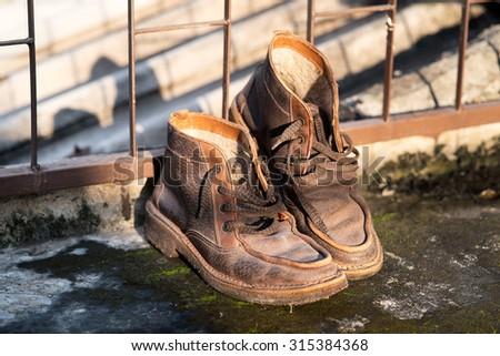 man's fashion boots - stock photo
