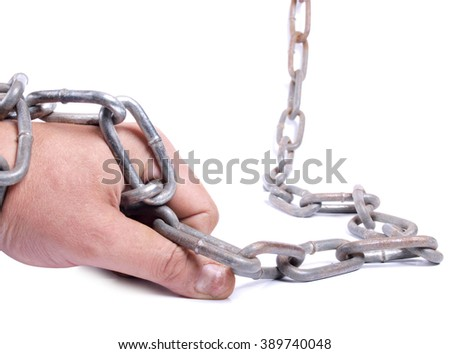 Man's hand and a metal chain on white background      - stock photo