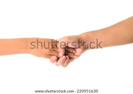 Man's hand and girl hand isolated on the white background - stock photo