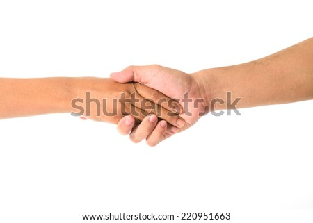 Man's hand and girl hand isolated on the white background