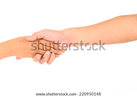 Man's hand and girl hand isolated on the white background, hand sign agreement - stock photo