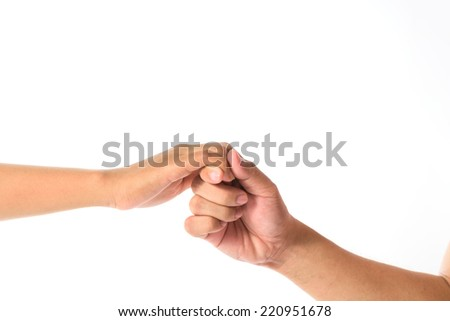 Man's hand and girl hand isolated on the white background, hand sign promise - stock photo