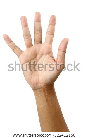 Man's hand counting five fingers isolated on white background with clipping path.