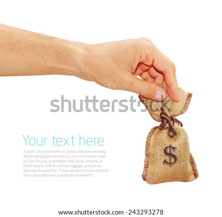 man's hand gives the bag with dollars - stock photo