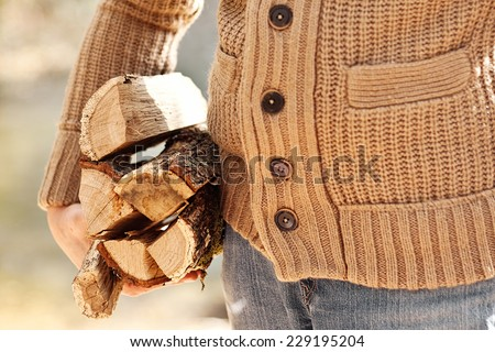 man's hand hold firewoods in brown sweater in autumn forest - stock photo