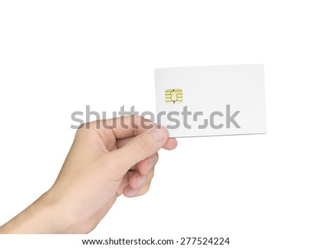 man's hand holding a blank chip card over white background - stock photo