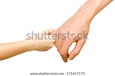 Man's hand holding a child's hand. white background