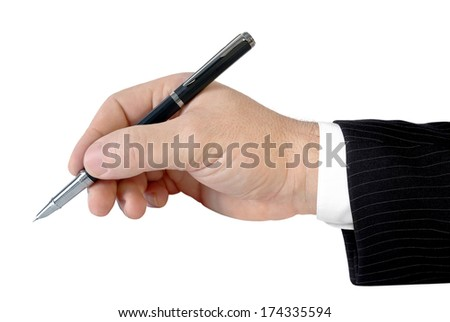 Man's hand holding a pen isolated on white background. - stock photo