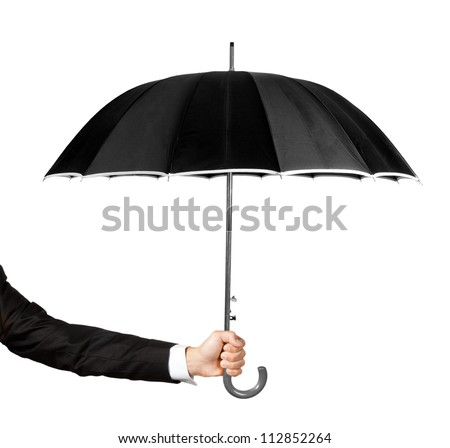 Man's hand holding an umbrella