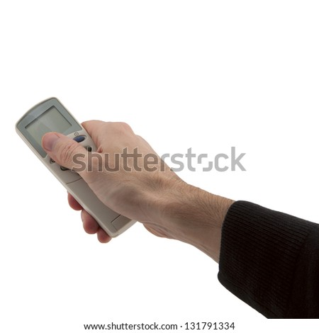 man's hand holding conditioner remote control isolated white