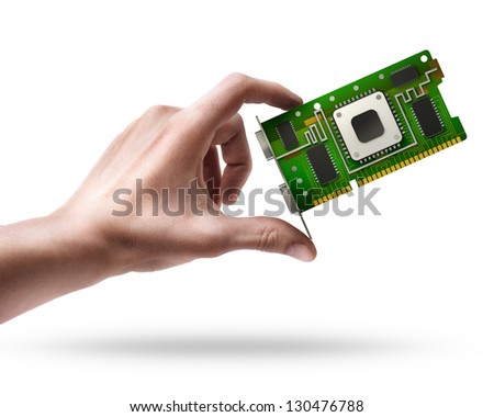 Man's hand holding graphic card GPU isolated on white background - stock photo