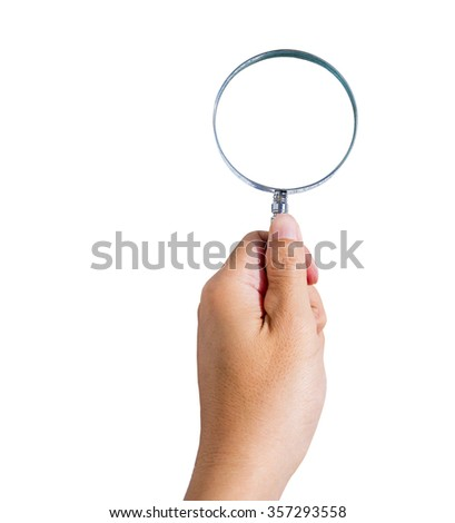 Man's hand holding magnifying glass isolated on white background, copy space for image or text, with clipping path - stock photo