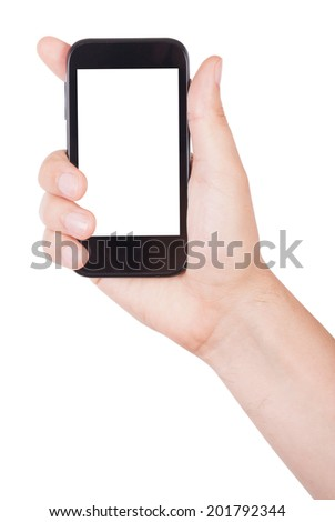 Man's hand holding mobile phone isolated on white background - stock photo