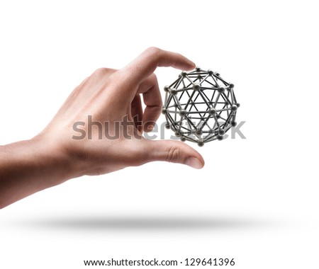 Man's hand holding molecules structure sphere isolated on white background