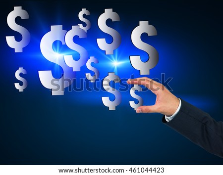 Man's hand holding one of dollar signs. Concept of earning money and developing your business. Importance of good investments and start capital. Toned image