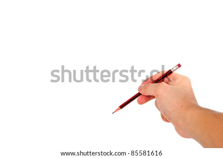 man's hand holding pencil isolated on white