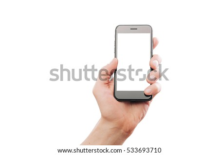 Man's hand holding smartphone. Mock-up, isolated on white