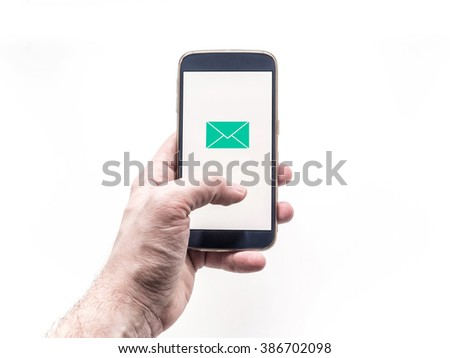 Man's hand holding Smartphone with message on screen. Email icon