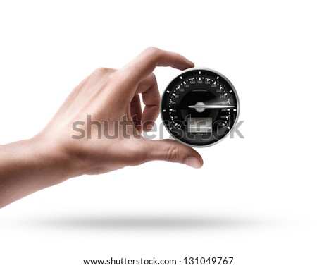 Man's hand holding Speedometer isolated on white background
