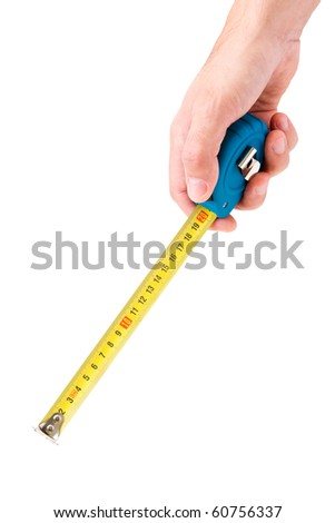 man's hand holding tape measure for measuring on white background