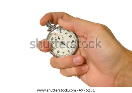 Man's hand holding vintage stopwatch on white background