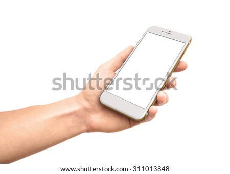 Man's hand holding white tablet with blank black screen - isolated on white - stock photo