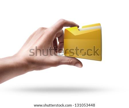 Man's hand holding Yellow folder isolated on white background - stock photo