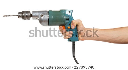 Man's hand holds a drill isolated on white background - stock photo