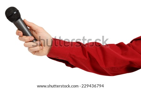 Man's hand in a red shirt holding a microphone isolated on white background - stock photo