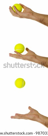 Man's hand in 3 different stages of throwing/catching a tennis ball - motion blur in some places. - stock photo