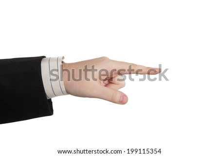 man's hand indicates on a white