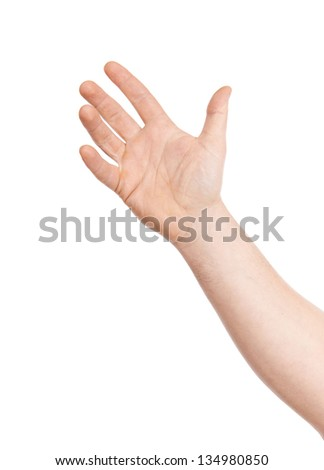 Man's hand isolated, on a white background