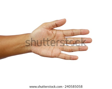 man's hand isolated on a white background with the palm open facing the viewer - stock photo