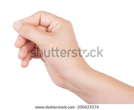 Man's hand isolated on white background - stock photo