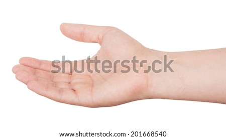 Man's hand isolated on white background