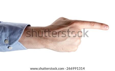 Man's hand isolated on white. Index finger forward. - stock photo