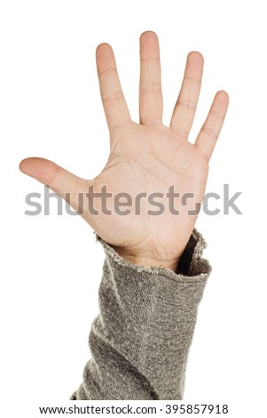 man's hand isolated on white studio background. gesture number - stock photo