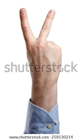 Man's hand isolated on white. Two fingers up. - stock photo