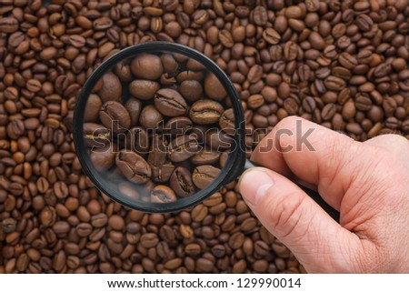 Man's hand keeps magnifying glass over the coffee beans - stock photo