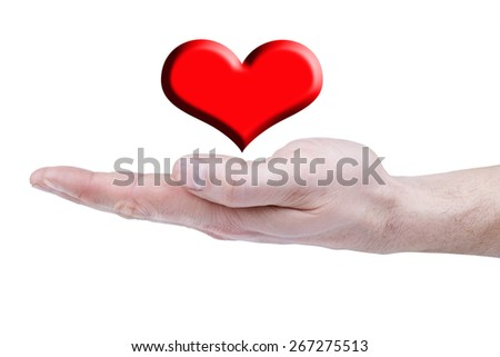 man's hand over her red heart