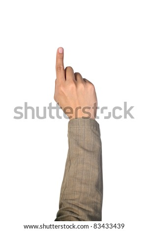 man's hand pointing   isolated  on  white - stock photo